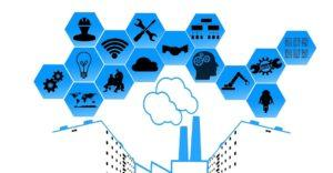 Piirroskuva tehtaanpiipusta, josta tupruaa ulos esineiden internetiin liittyviä asioita