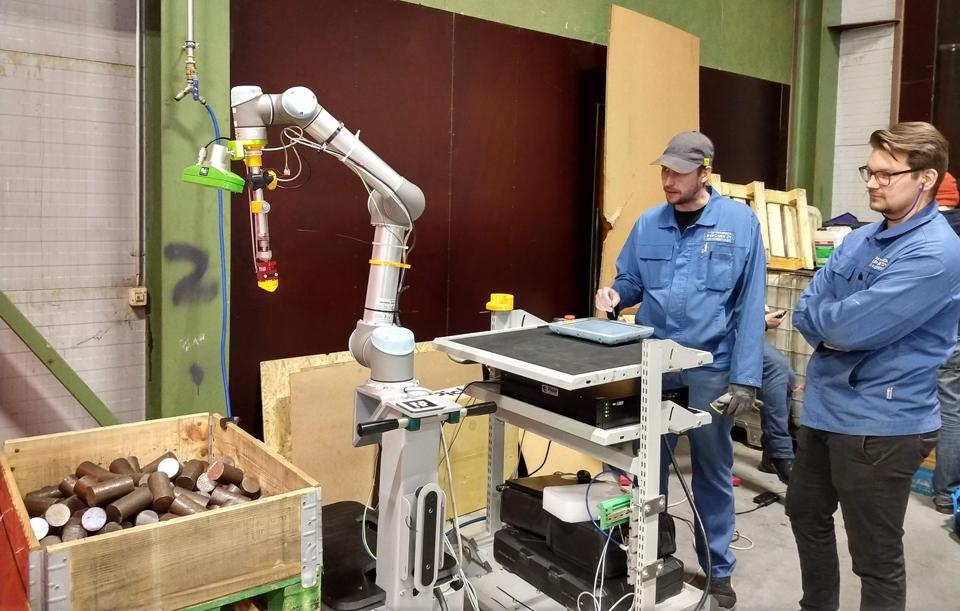 A collaborative robot at work