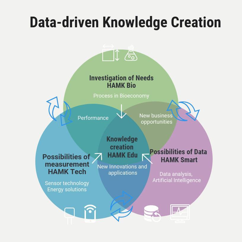 Kuvio 1. HAMKin tutkimusyksiköiden roolit ja tehtävät digitaalisen biotalouden tutkimuksen alueella B4- ja C4-hankkeissa.