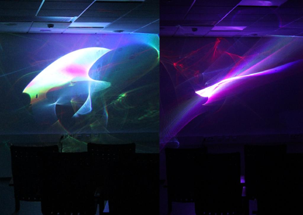 Vgoray-hyvinvointijärjestelmän tuottamaa laservaloa.