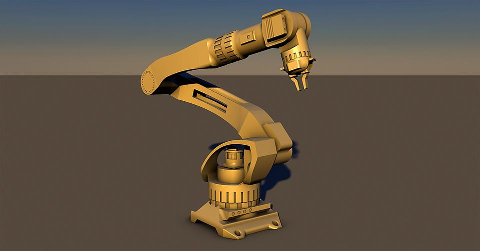 Robottikäsi aavikkomaisemassa.