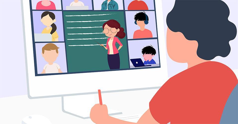 piirroskuva henkilöstä tietokoneella